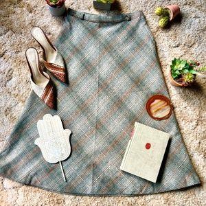 {Vintage} Classic A-line Tweed Grey Wool Skirt, 4